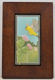Medicine Bluff Finch Tile in Mitered Oak Frame