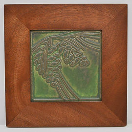 Motawi Pinecone Tile in Mitered Mahogany Frame