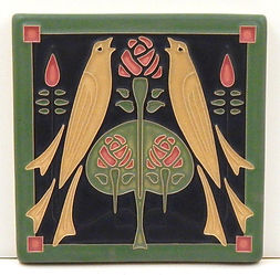Arts and Crafts Tile Songbirds Salmon