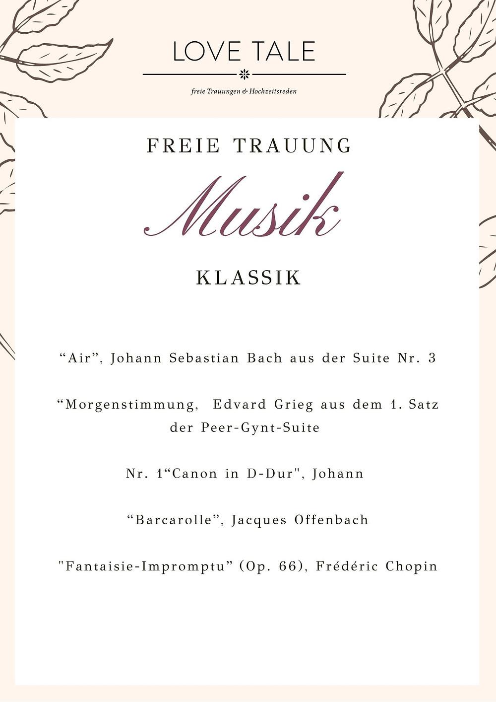 Auswahl klassische Musikstücke für eine freie Trauung