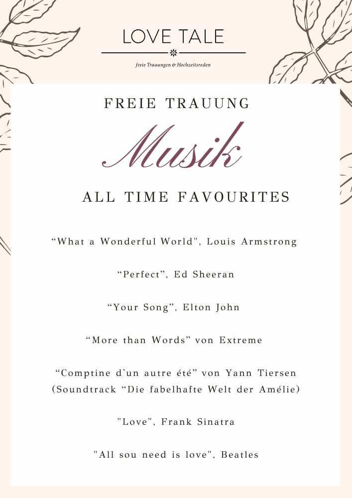 Musikfavoriten Freie Trauung