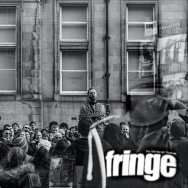 (516) Street Performer reflection in Fri