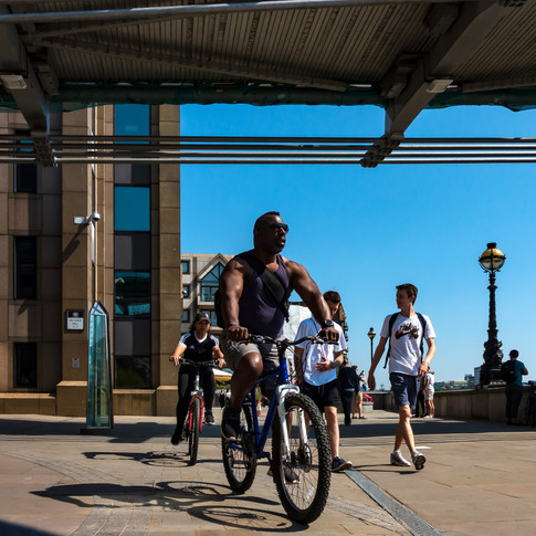(161) Cyclists on Thames Riverside Walk,