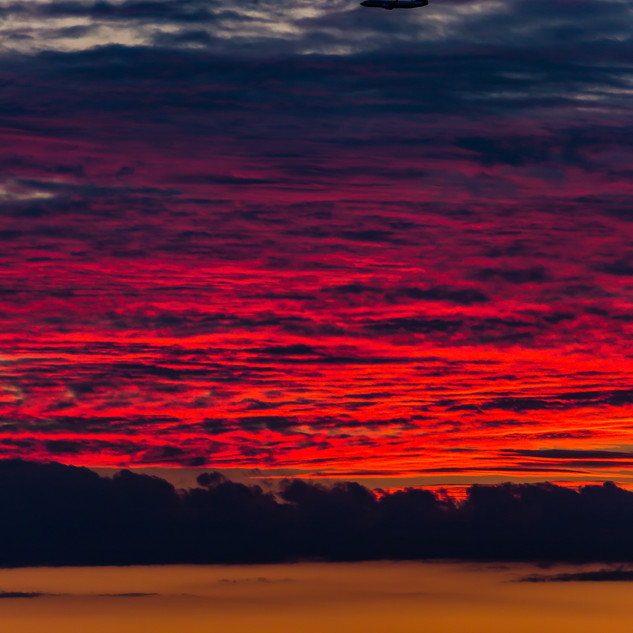 Fiery Red Sunset over Fife, Scotland