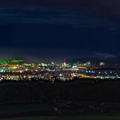 (820) Edinburgh Skyline at Night Panoram