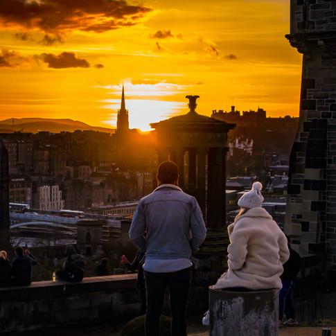 (1256) Couple Watching the Sun Setting O