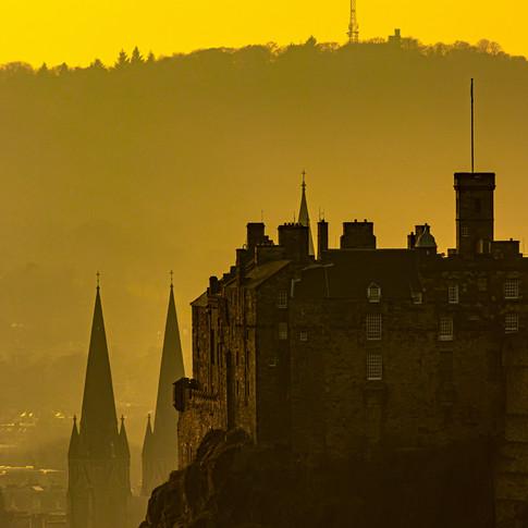 (1378) Moody Golden Sunset Over Edinburg