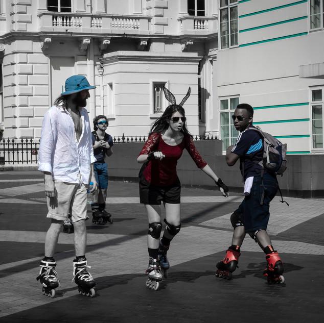 Roller Skaters, Exhibition Road, Knightsbridge, London