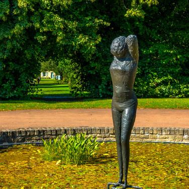 (781) 'Girl' bronze sculpture by Reginal