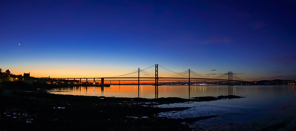 (1047) The Forth Bridges at Sunset, Panorama from South Queensferry, Scotland, March 2018.