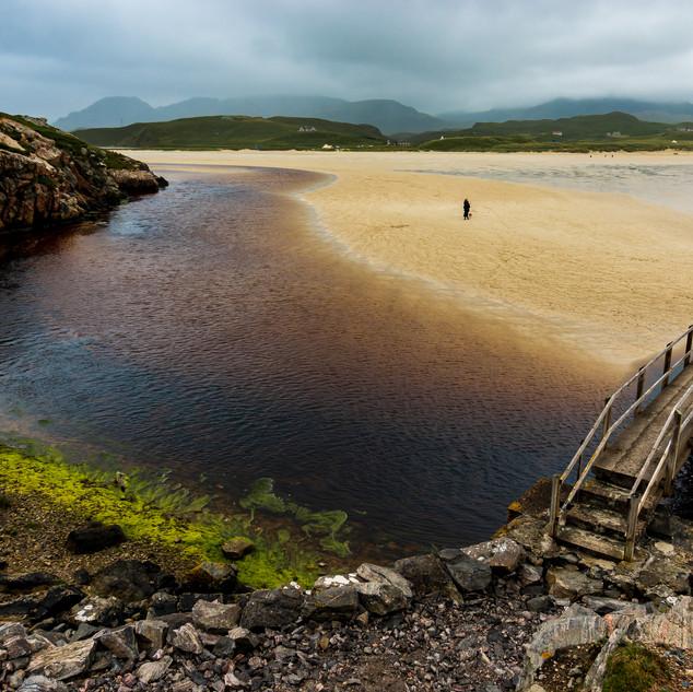 Bridge at Uig Sands, Traigh Uige, Uig, Isle of Lewis, Outer Hebrides, Scotland.