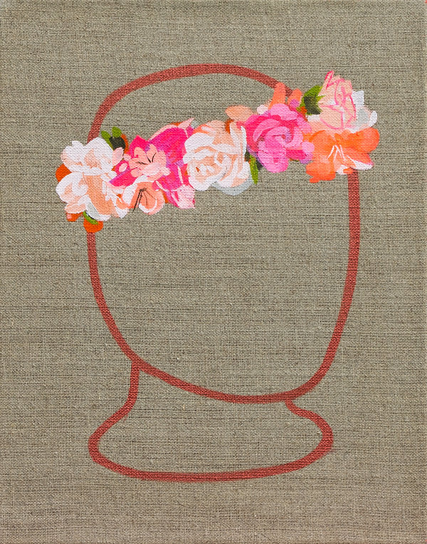 Malerei, Painting, Ein Kränzlein winden, Acryl auf Leinwand, 33x26cm, 2020