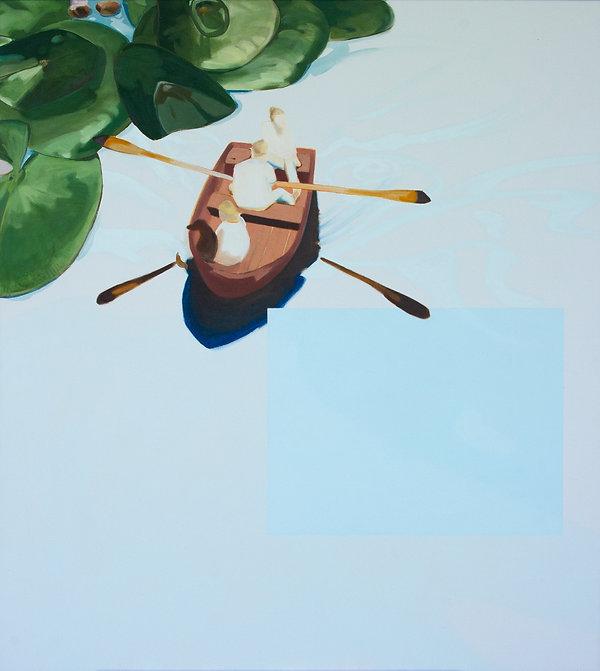 Malerei, Painting, Seerosenwasser, Öl auf Leinwand, 100x90cm, 2020