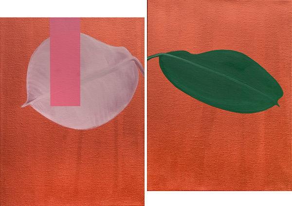 Gummibaumblätter mit Rechteck in Rosa, (Pendant) je 40x30cm, Öl und Acryl auf Leinwand, 2020