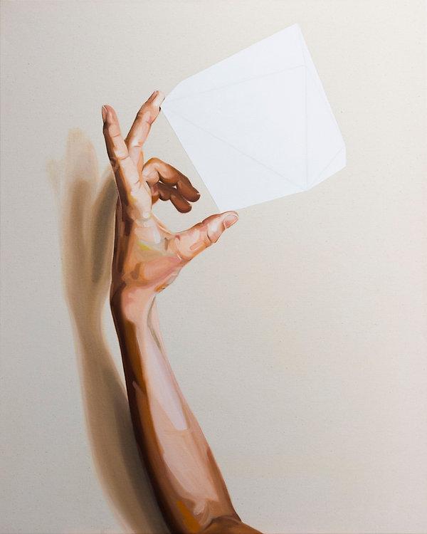 Baumhaus, Malerei, Hand mit Haus