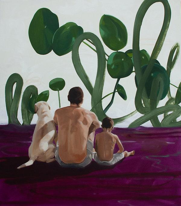 Malerei Painting Family Dog Nature