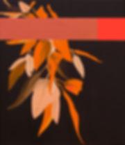 Malerei, Painting, Busch mit Streifen in Bronze und Neonpink, Öl und Acryl auf Leinwand, 70x60cm, 2020