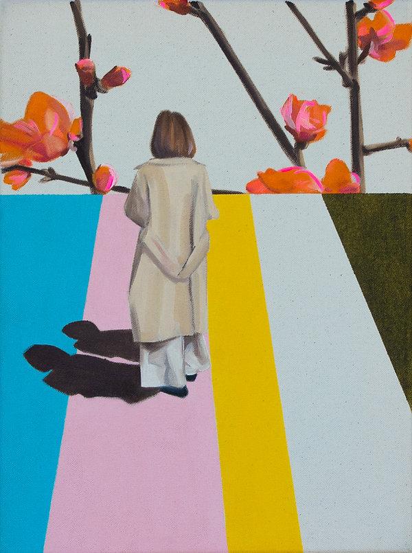 Malerei, Painting, The pink walk, Öl auf Leinwand, 40x30cm, 2020