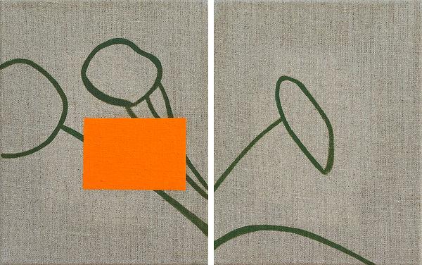 Orange Square (Pendant), je 25x20cm, Öl auf Leinwand, 2020
