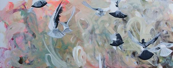 Malerei, Painting, Die neun Geschwister (Fly high), 80x200cm, Öl auf Leinwand, 2020