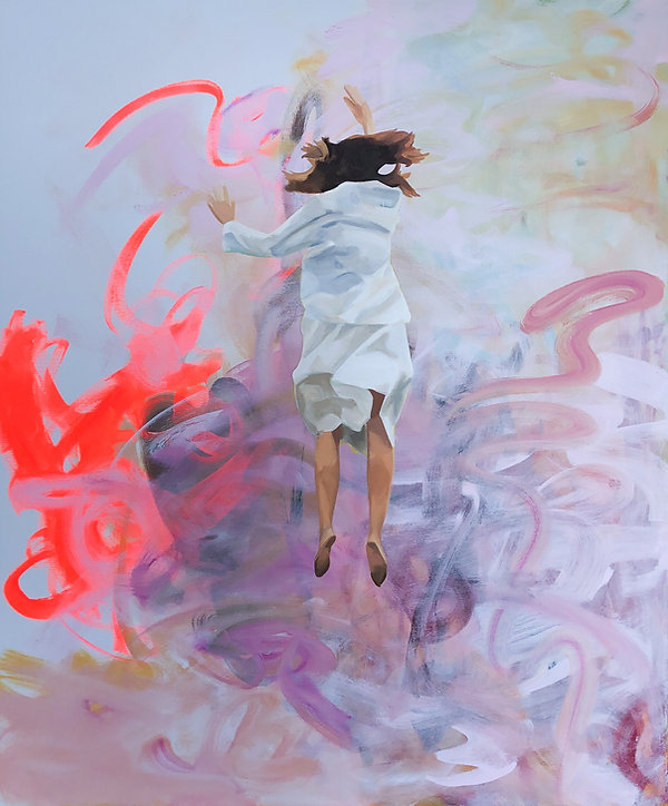 "And Ben said: ""She looks suspended in air"", 120x100cm, Öl auf Leinwand, 2020"