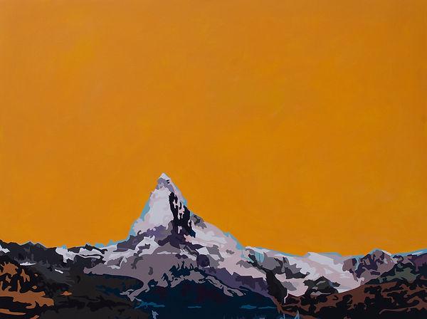 Matterhorn (Orange),120x160cm, Acryl, 2018