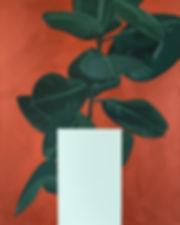 Malerei, Painting, Gummibaum mit Rechteck in Eisblau, 100x80cm, Öl und Acryl auf Leinwand, 2020