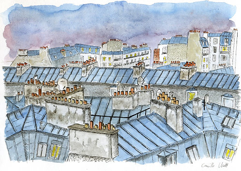 Rooftop in Paris - ORIGINAL -  (21 X 29,7cm)