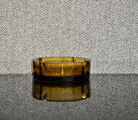 Cendrier en verre fumé jaune