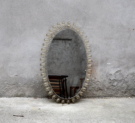 Miroir ovale rétro-éclairé en lucite