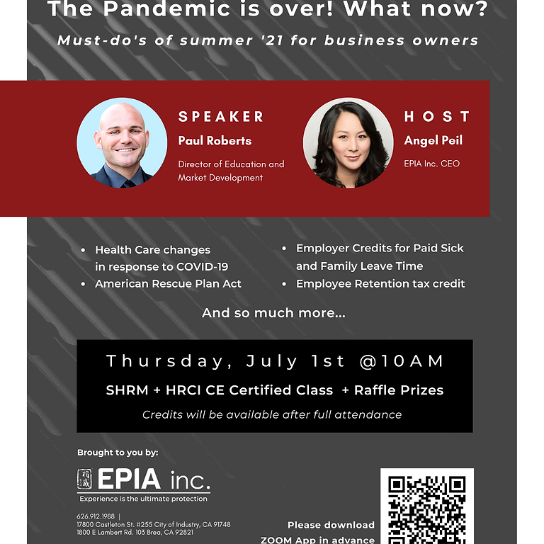 """CE Online Class for HRCI + SHRM """"The Pandemic is over! What now? Must-do's of Summer '21 for Business Owners"""""""