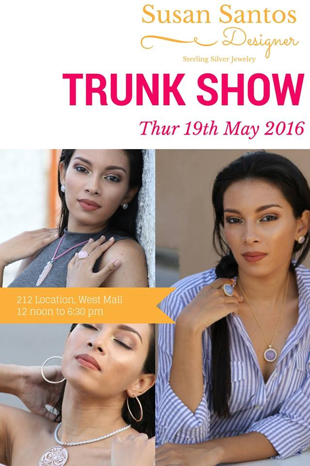 Recent TrunkShow flyer with 212 and Susan Santos
