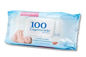 Lingettes bébé nu moments nettoient la peau délicate  de bébé