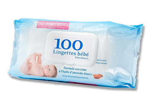 Baby wipes enriched with sweet almond oil