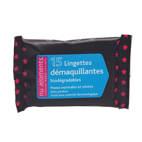 Make-up remover wipes  normal and mixed skin x15.