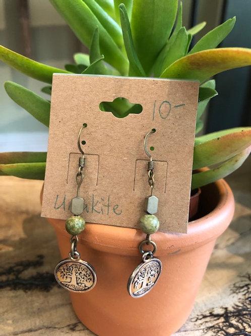 Earrings: Unakite