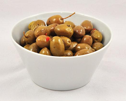 Zelene olive polnjene s papriko