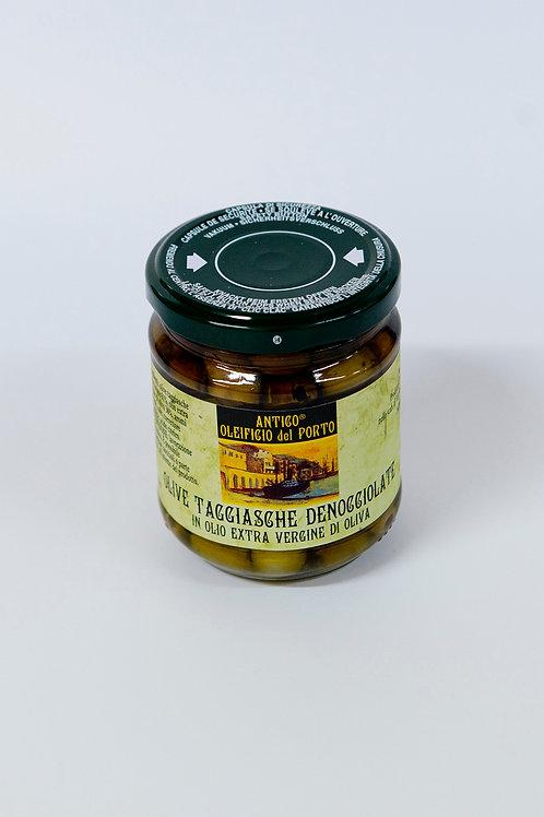 Rjave olive Taggiasche brez koščic v olivnem olju 180 g