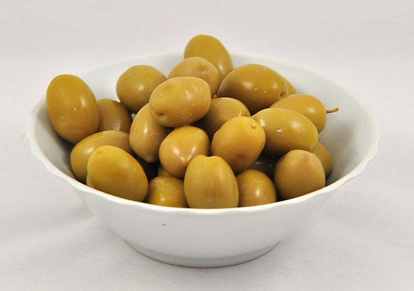 Zelene grške olive Mammouth v slanici, postrežno