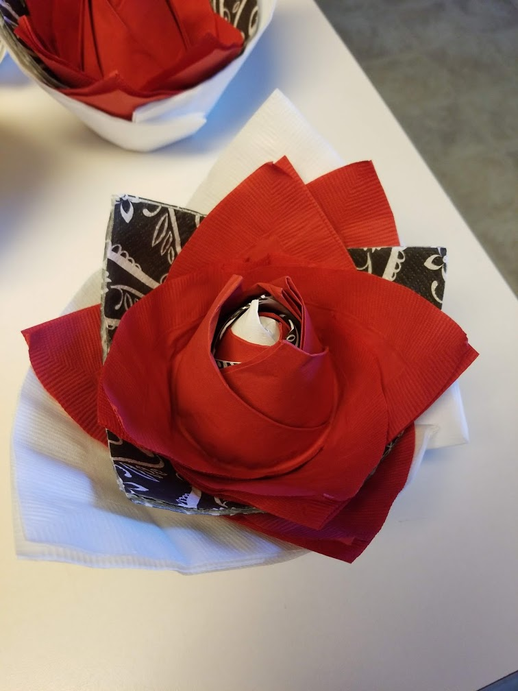 Hand made paper rose - place setting