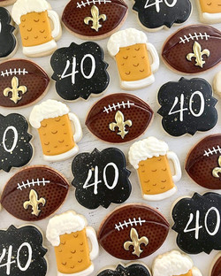 Custom cookies for Cheers and Beers to 40 years themed party
