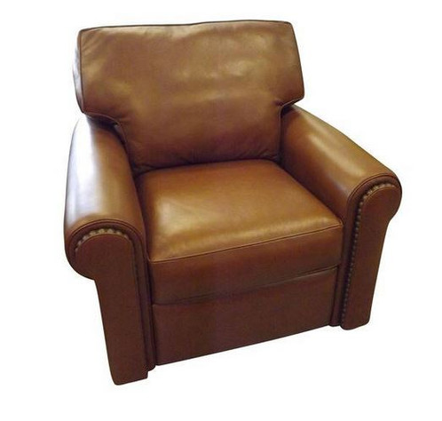 Brown Leather Swivel/recliner With Stud Detail. Itu0027s A Cozy Recliner That  Also Swivels. Itu0027s A Great Reading Chair For You And For Your Guests.