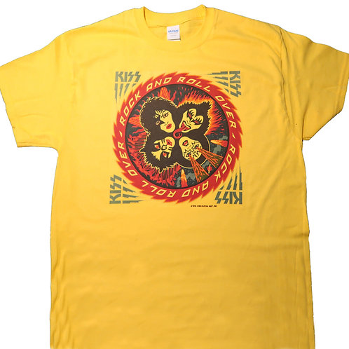 KISS,Rock & Roll Over 1977 TOUR Retro T-SHIRTS,Yellow SIZES S-5XL,T-1734Gold