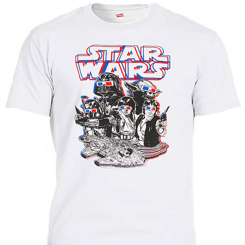 STAR WARS,  3D, COOL, White T-SHIRT T-1186