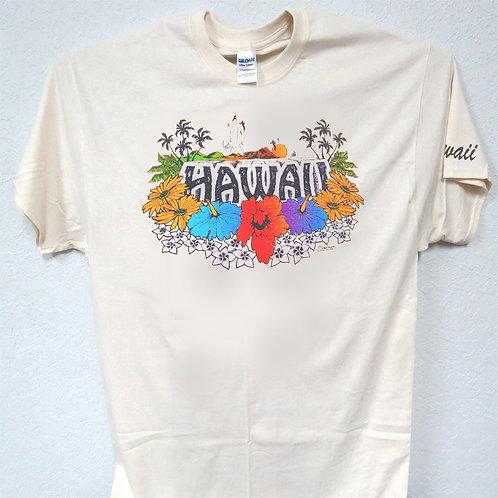 copy of HAWAII, FLOWERS, Beautiful Ivory T-SHIRT T-1194