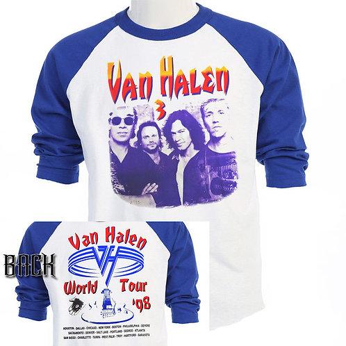 """VAN HALEN,3 """"1998 World Tour"""" Vintage Art Baseball Shirt """"T-1269Blue"""