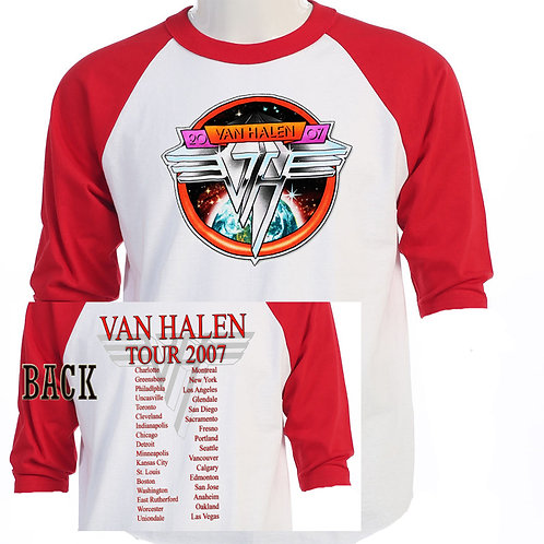 VAN HALEN,2007 US/CAN Tour RETRO Baseball T-SHIRT