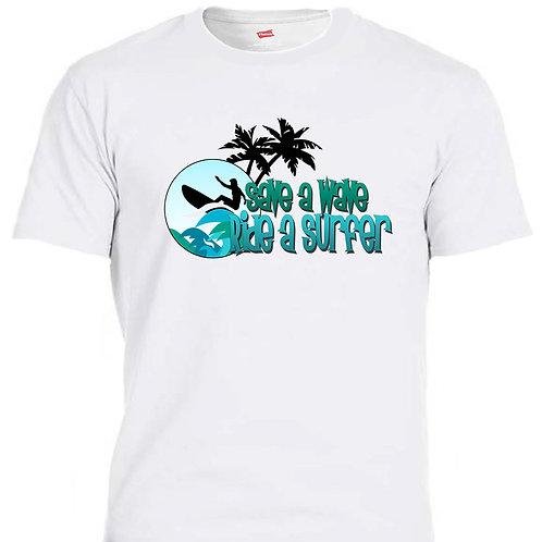 SAVE A WAVE, RIDE A SURF!! Cool LOGO, Tank, T-shirt, T-1447