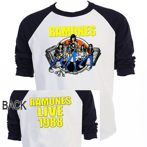 THE RAMONES,1988 TOUR,Baseball T-SHIRT