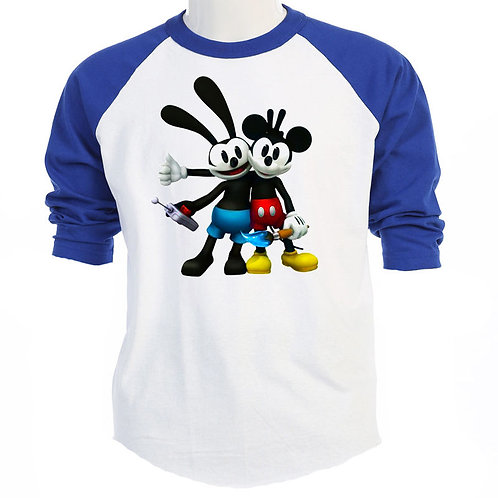 OSWALD The Lucky Rabbit,& MICKEY Disney, T-SHIRT,S-3X, T-259Blue